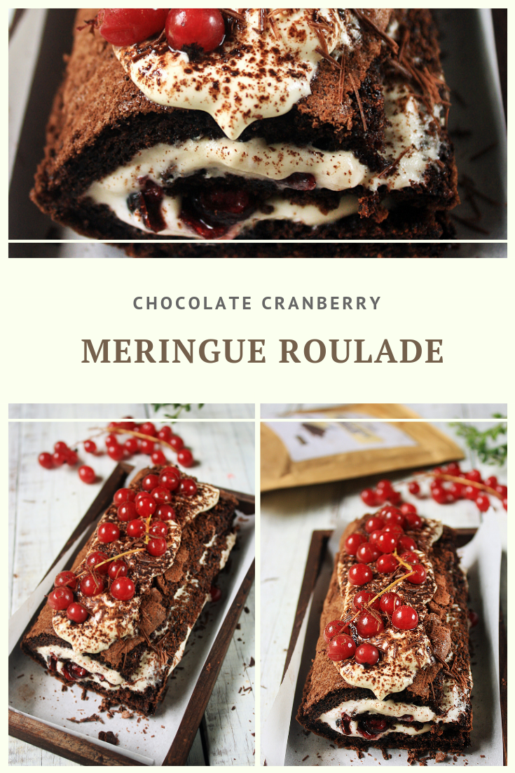 Paleo Chocolate Cranberry Meringue Roulade Recipe by Summer Day Naturals
