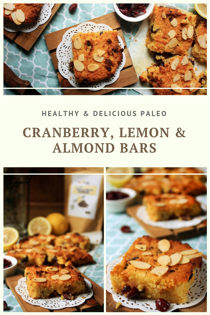 Paleo Cranberry, Lemon & Almond Bars recipe by Summer Day Naturals