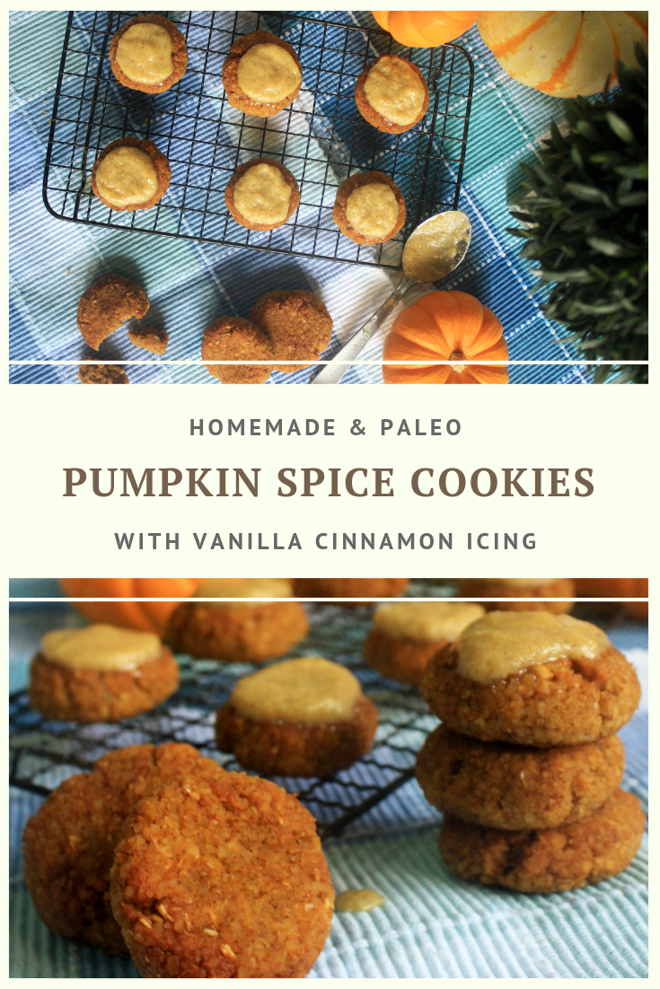 Paleo Pumpkin Spice Cookies with Vanilla Cinnamon Icing Recipe by Summer Day Naturals