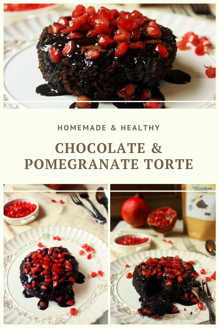 Paleo Chocolate & Pomegranate Torte Recipe by Summer Day Naturals