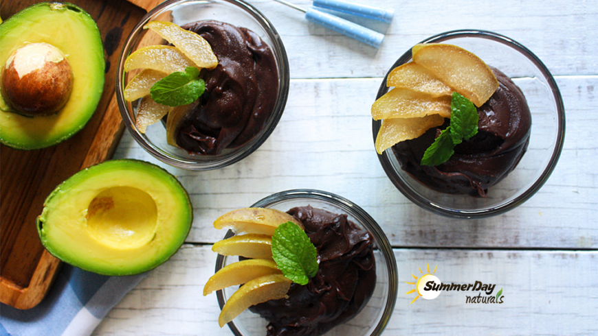 Chocolate Avocado Mousse with Pears