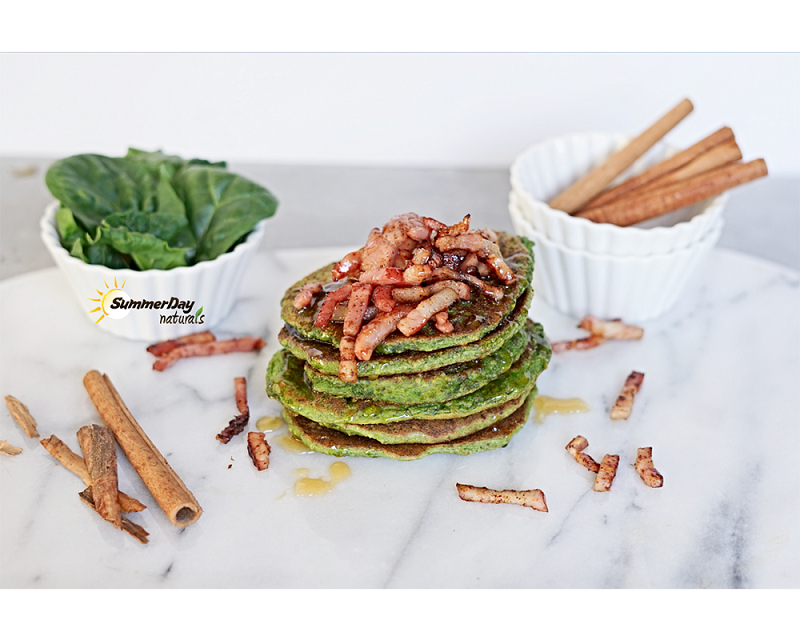 Spinach Pancakes With Cinnamon-Bacon Topping