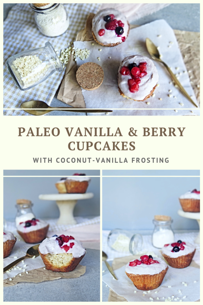 Paleo Vanilla & Berry Muffins With Coconut-Vanilla Frosting Recipe by Summer Day Naturals