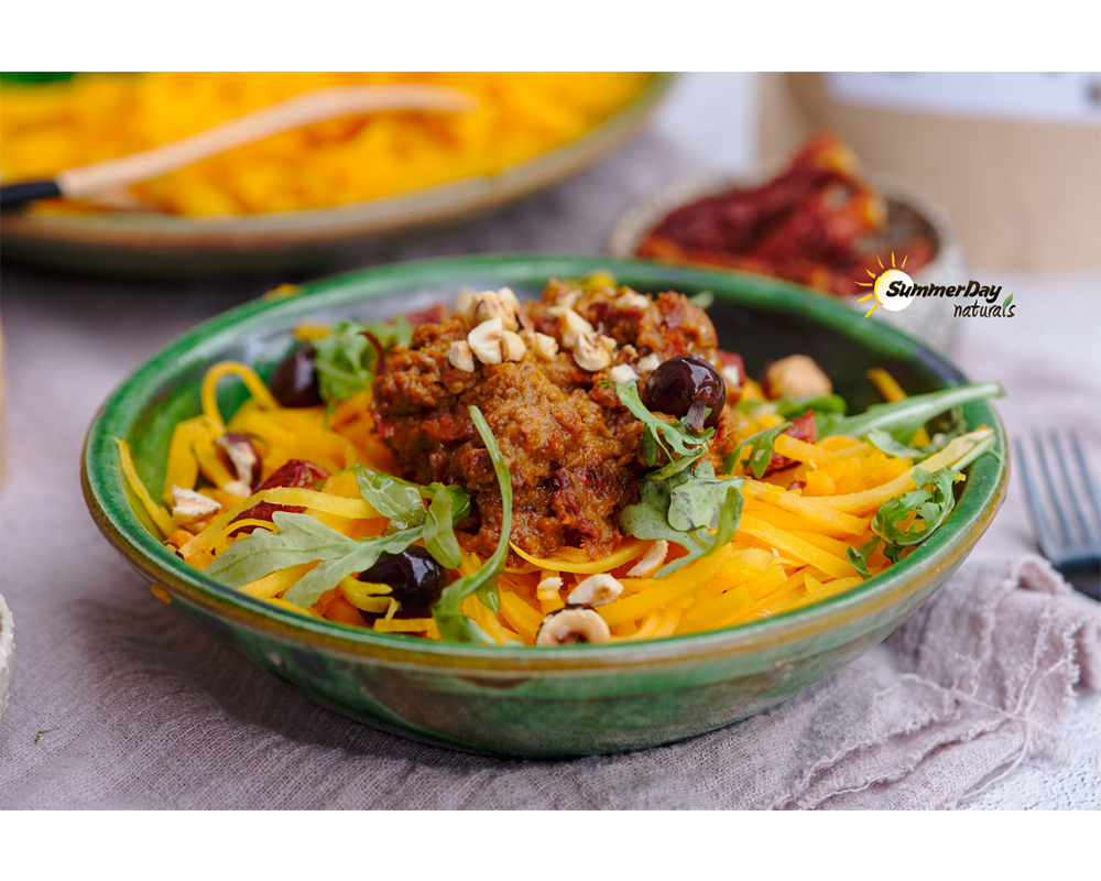 Vegan Pumpkin Spaghetti with Sun Dried Tomato Pesto
