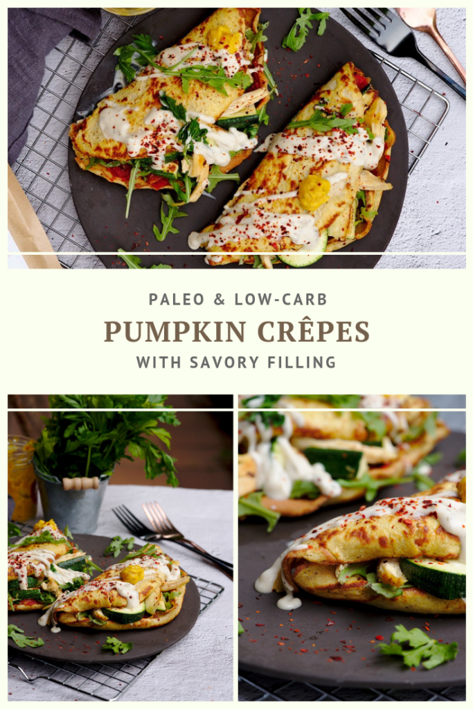 Paleo Pumpkin Crepes with Savory Filling by Summer Day Naturals